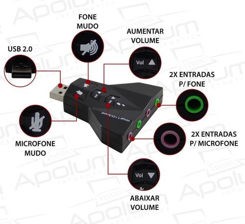 placa de som usb adaptador áudio 7.1 c/ p2 notebook pc