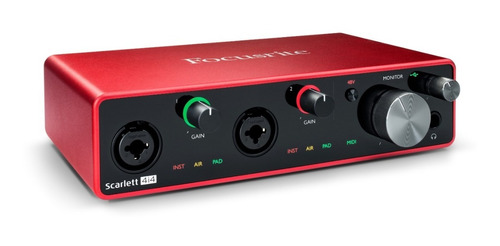 placa de sonido interface focusrite scarlett 4i4 de 3era generacion con entradas midi canon plug grabacion home studio