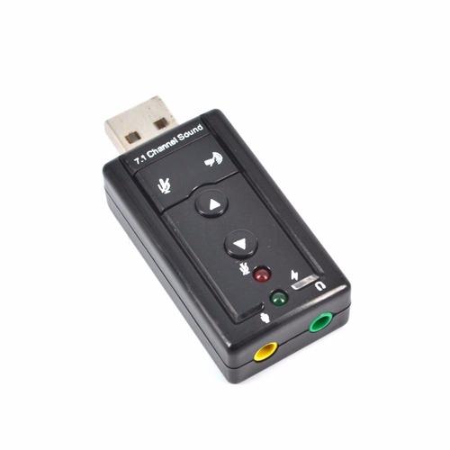 placa de sonido usb 7.1 c/ control volumen y leds.