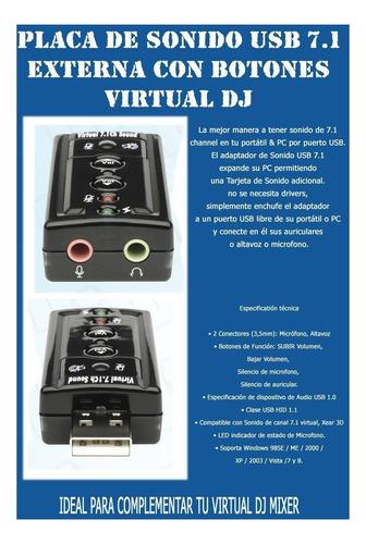 placa de sonido usb 7.1 c/ control volumen y leds, lo mejor