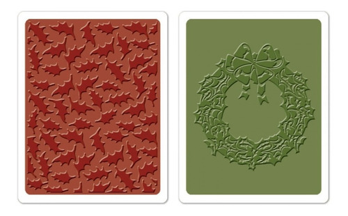 placa de textura sizzix embossing folder holly pattern & wre