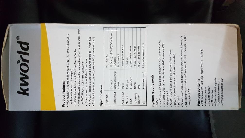 KWORLD KW-PC165-A LE TV CARD REMOTE CONTROL DRIVERS PC