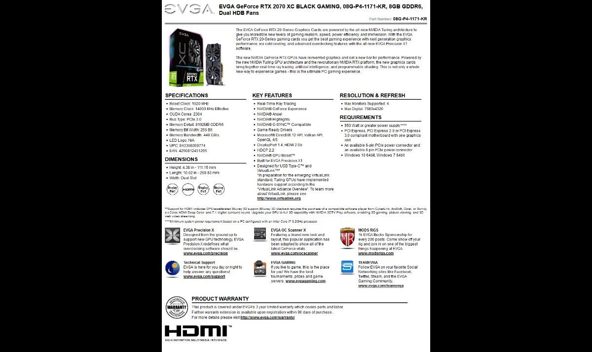Placa De Vídeo Evga Geforce Rtx 2070 Xc Black Gaming