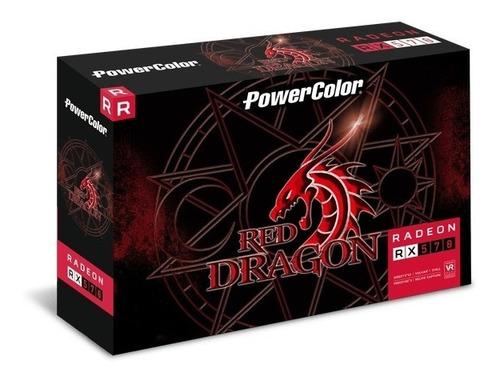 placa de vídeo rx 570 4gb red dragon- power color nova