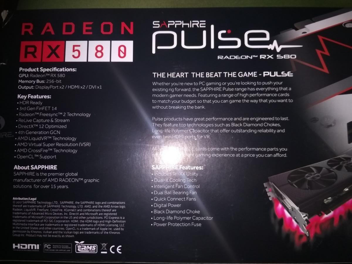 Placa De Video Sapphire Radeon Rx Pulse 580 4g Ddr5 - $ 10 900,00