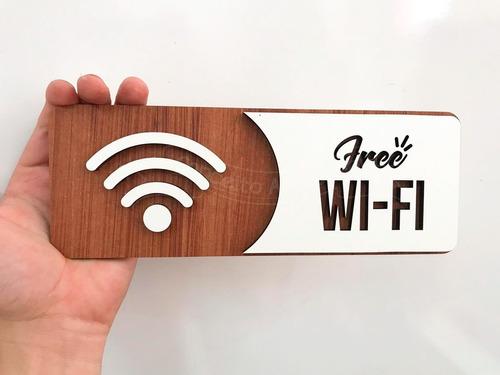 placa de wi-fi wifi indicativa sinalização mdf especial