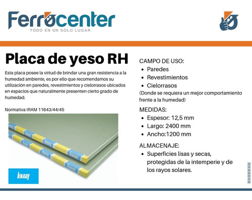 placa de yeso knauf - antihumedad rh 12,5 mm
