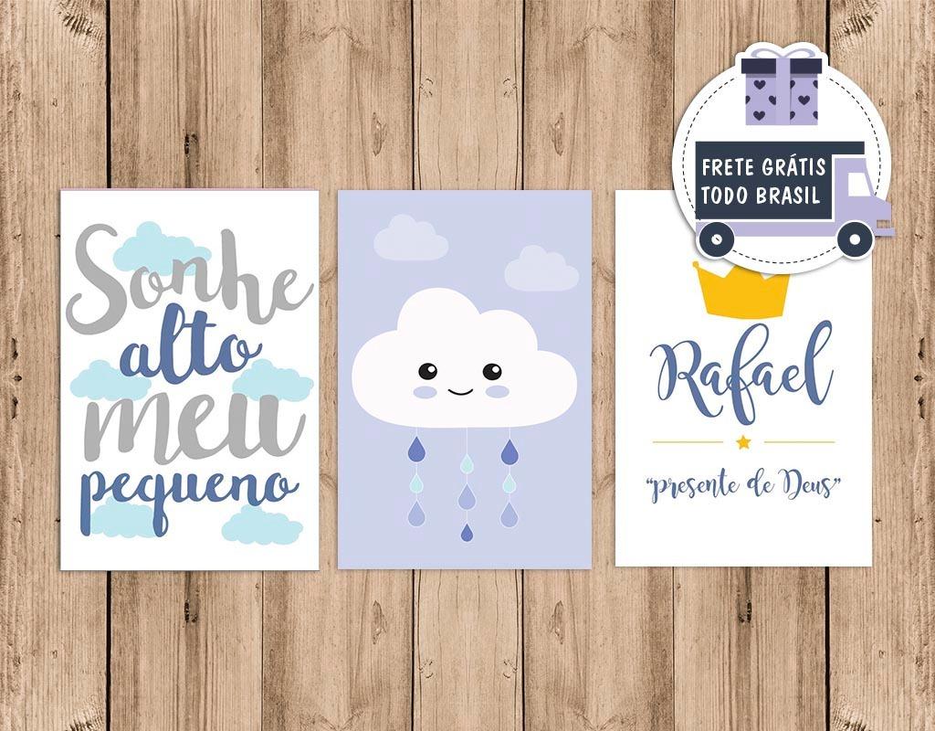 Placa Decora O Quarto Bebe Infantil Chuva De Amor Menino R 59  ~ Quarto De Bebe Parede Com Poster Decoração Quarto