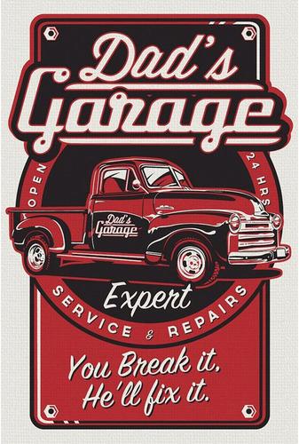 placa decoração retro motos carros oficina clássicos 14 x 21
