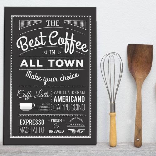 placa decorativa adesivada café 30x40cm para cozinha