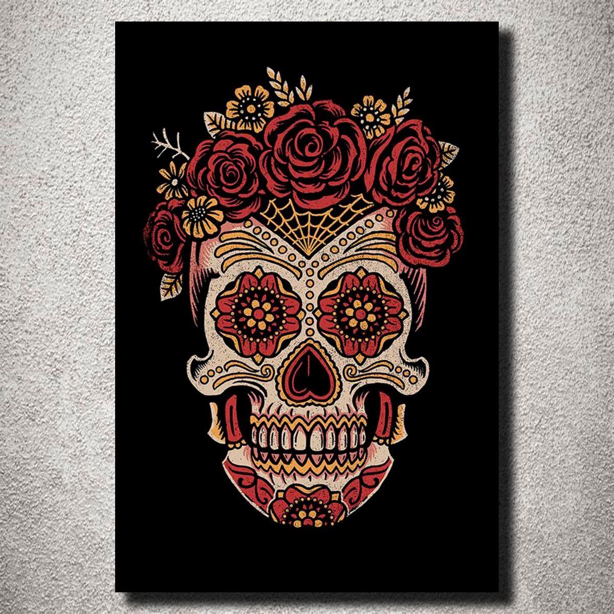 Placa Decorativa Caveira Mexicana Rosas Arte Cores Mdf R 25 90