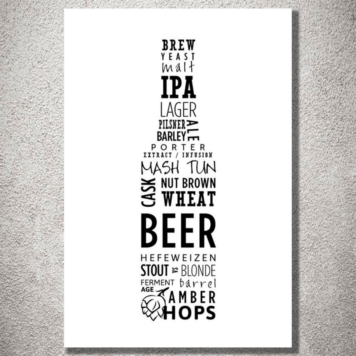 Placa Decorativa Cerveja Garrafa Frases Preto E Branco Mdf R 25