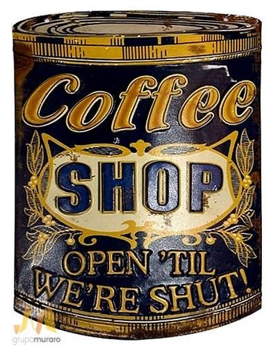 placa decorativa coffee shop de ferro