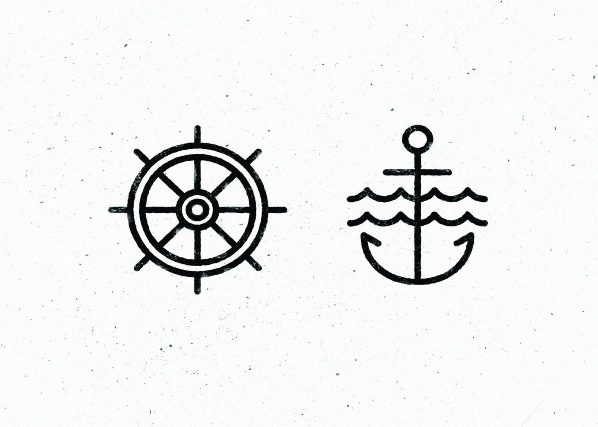placa decorativa desenho de leme e ancora de navio 15x21 c r 7