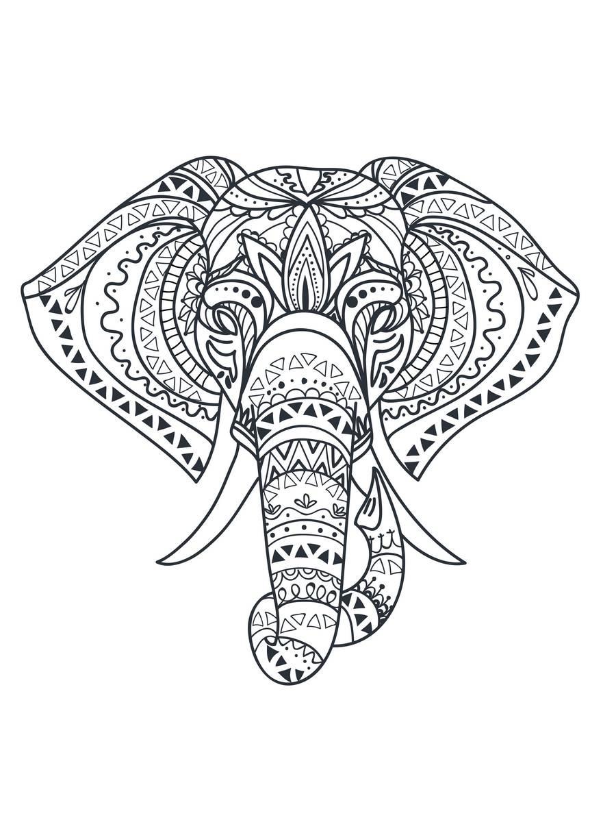 Placa Decorativa Elefante Mandala Preto E Branco