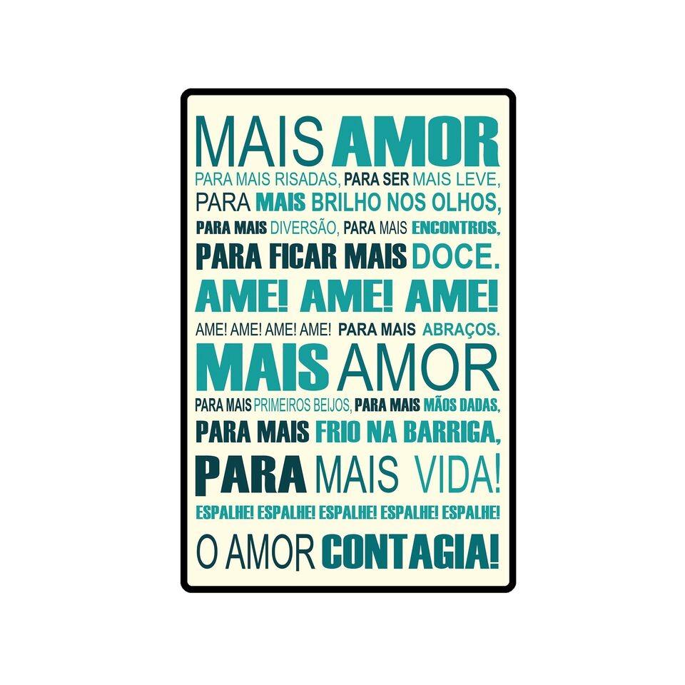 Placa Decorativa Em Mdf Frases De Carinho Mais Amor Contagia