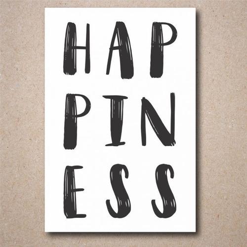 placa decorativa frase happiness 20x30cm mdf