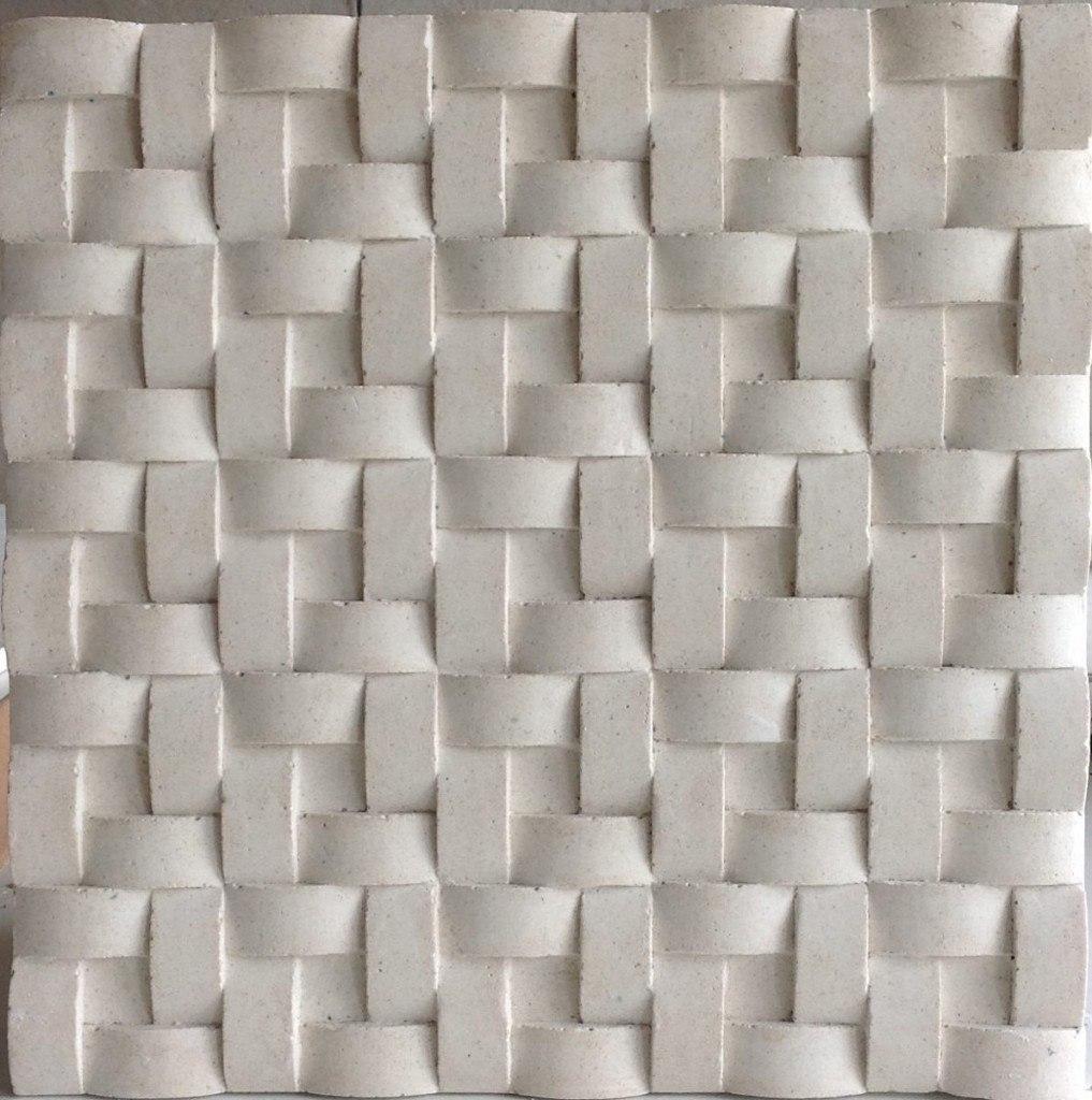 placa decorativa mosaico gesso 3d tran ado instalado r