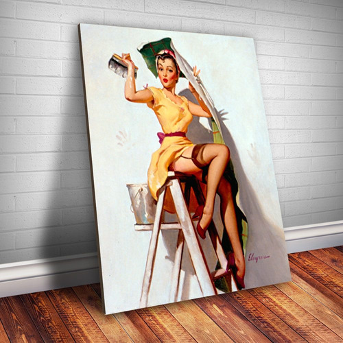 placa decorativa pin-up colando papel de parede