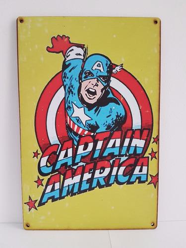 placa decorativa retrô super heróis - decoração nerd
