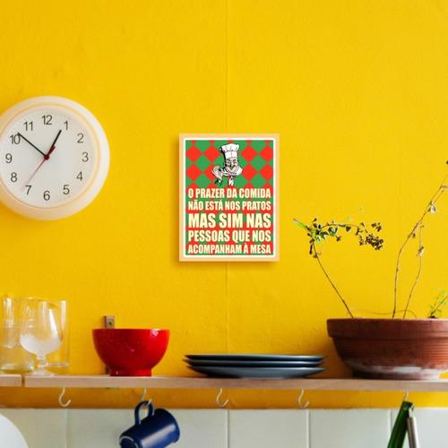 placa decorativa tio nonô em mdf o prazer da comida 23x18cm