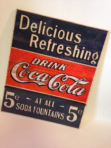 placa decorativa vintage - coca cola