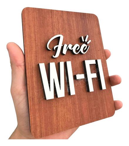placa decorativa wifi grátis estabelecimento em mdf decorado
