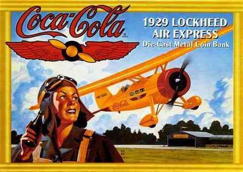 placa decorativa(1427)coca cola 1929 avião bebida
