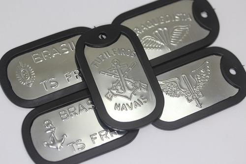 placa dog tag + silenciador id aeronáutica exército marinha