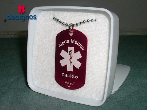 placa dogtag alerta medica grabada y personalizada con láser