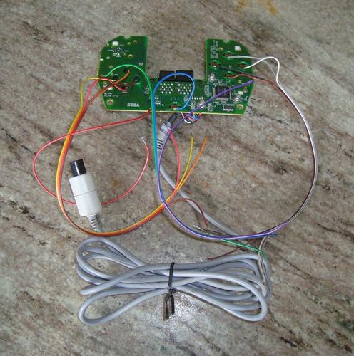 placa dreamcast com fiação para arcade e terminais faston