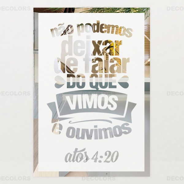 Placa Espelho Jateada Frase Motivacional Bíblica Atos 4 20