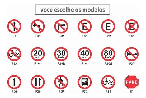 placa estacionamento permitido - 50cm diâmetro - pvc 3mm