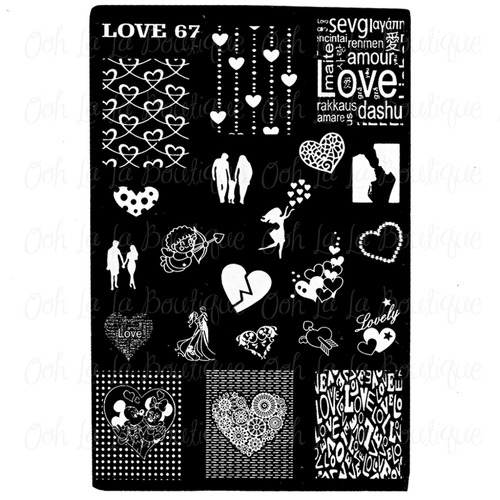 placa estampado uñas disco amor love  67 #394