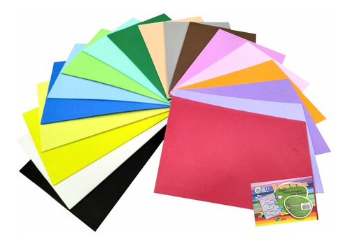placa folha de eva 40 x 60 x 5mm - 20 folhas cores a escolha