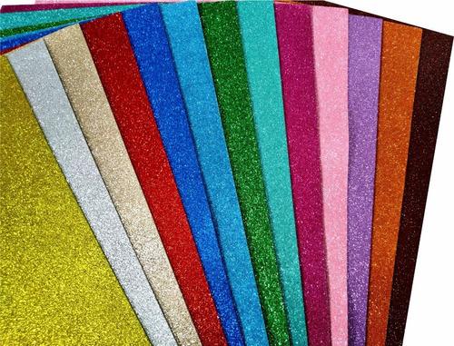 placa folha de eva com glitter 40 x 60cm x 1,8mm 15 unidades