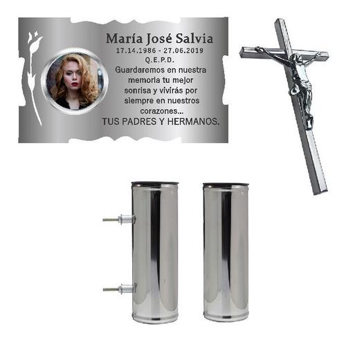 placa + foto + florero + cruz. para cementerio, lapidas.