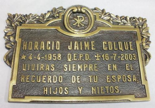 placa funeraria bronce