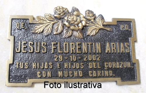 placa  funeraria de bronce