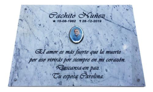 placa grabada de marmol 80x65cm. cementerio, lapida + foto