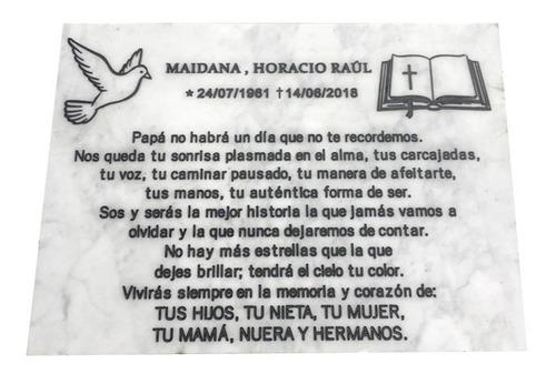 placa grabada en mármol, recordatoria para cementerio 70x60