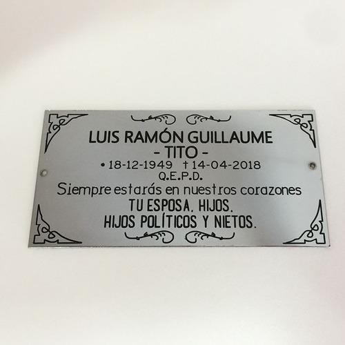 placa grabada, recordatoria, virgen del rosario 10x8 cm.