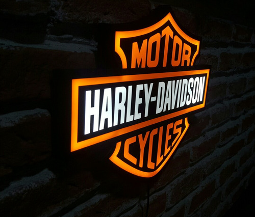placa harley davidson luminoso led bar quadro