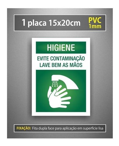 placa higiene lave bem as mãos evite contaminação - 15x20cm