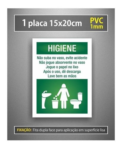 placa higiene mantenha banheiro limpo - feminino - 15x20cm