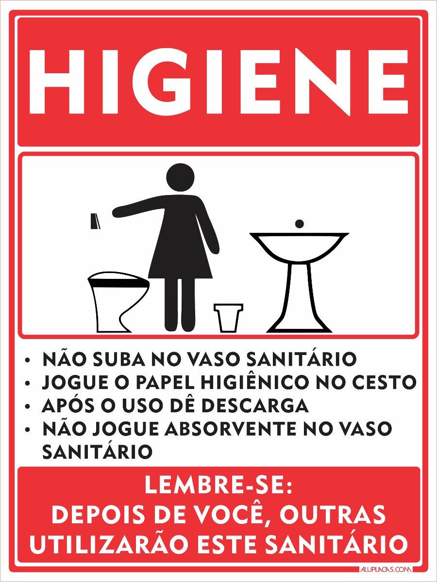 Higiene Para Banheiro : Placa higiene sanit?rio banheiro feminino cm alum?nio
