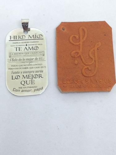 placa hijo mío español, grabada bajo relieve, plata.950