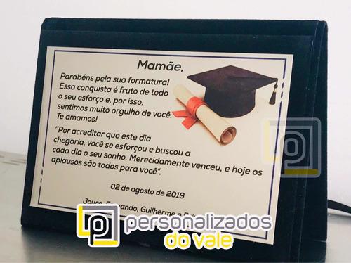 placa homenagem / formatura estojo capa 17x12