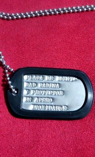 placa identidad con datos personales tipo militar acero inox