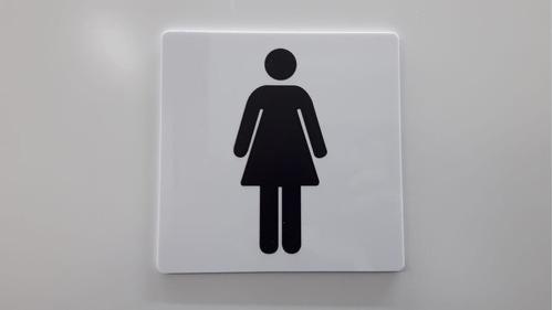 placa indicativa banheiro 4 masculinas e 2 femininas